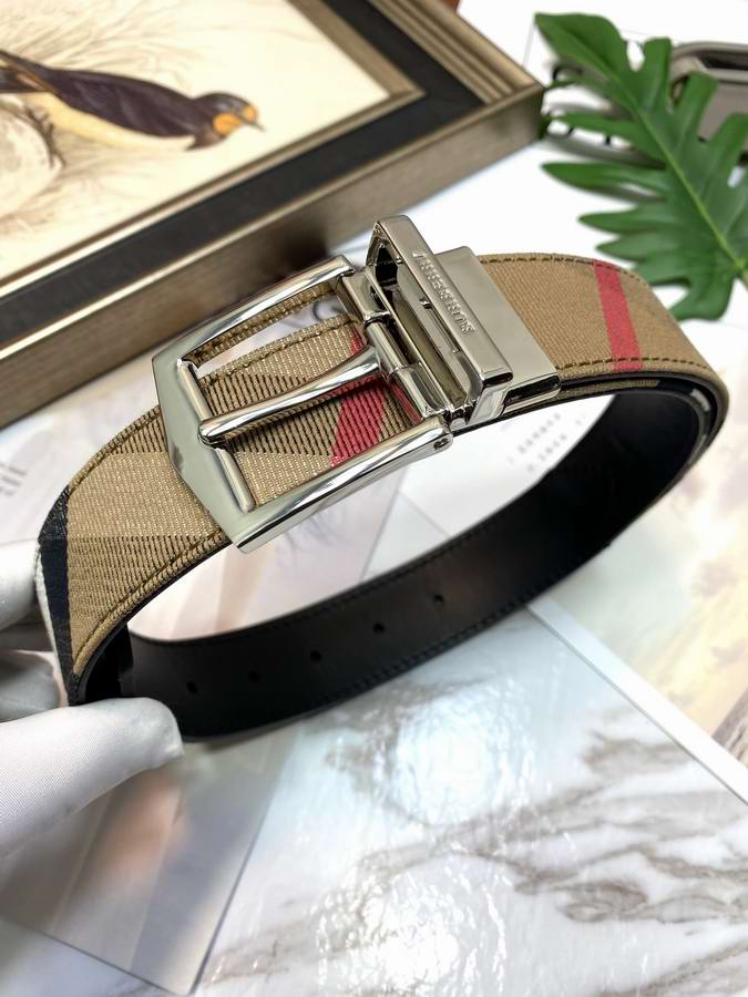 Reversible Vintage Check E-canvas and Leather Belt