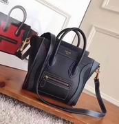Celine MINI LUGGAGE BAG IN BLACK SHINY SMOOTH CALFSKIN