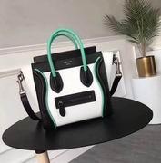 Celine mini luggage bag in natural calfskin black ,white,green