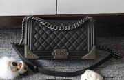 Chanel boy handbag calfskin black & silver metal ,Handbags, replicas wholesale