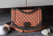 Chanel boy handbag calfskin orange & silver metal ,Handbags, replicas wholesale