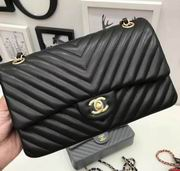 Chanel Classic  handbag in black Lambskin A1113,Handbags, replicas wholesale