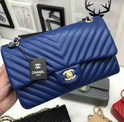 Chanel Classic  handbag in blue Lambskin A1113,Handbags, replicas wholesale