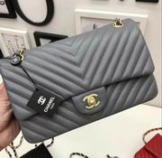 Chanel Classic  handbag in grey Lambskin A1113,Handbags, replicas wholesale