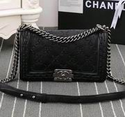 Chanel hand-woven boy handbag calfskin Black & silver metal