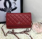 Chanel woc handbag in red with silver metal  A33814