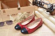 Chanel laminated lambskin ballerinas red & black ,Women Shoes,Chanel replicas wholesale