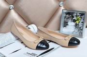 Chanel sheepskin ballerinas apricot & black ,Women Shoes,Chanel replicas wholesale