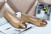 Chanel sheepskin ballerinas brown & gold ,Women Shoes,Chanel replicas wholesale