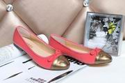 Chanel sheepskin ballerinas peach & gold ,Women Shoes, replicas wholesale