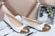 Chanel sheepskin ballerinas white & gold,Women Shoes, replicas wholesale
