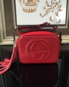 Gucci Soho leather disco bag red leather