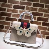 Gucci  Leather top handle bag with moth white