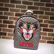 Gucci Angry Cat print GG backpack