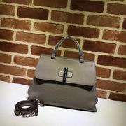Gucci top handle bag grey leather