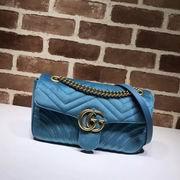 Gucci GG Marmont Chevron velvet shoulder bag light blue chevron velvet