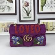 Gucci GG Marmont embroidered velvet bag purple chevron velvet