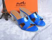 Hermes Patent leather Oasis sandal blue ,Women Shoes, replicas wholesale
