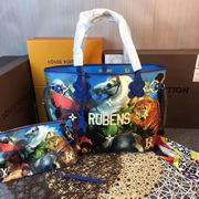 Louis Vuitton colored drawing tote blue leather