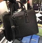Prada black Ostrich leather briefcase FOR MAN,Handbags,Prada replicas wholesale