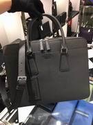 Prada dark gray Saffiano Cuir leather briefcase FOR MAN,Handbags,Prada replicas wholesale