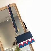 Prada Esplanade Saffiano and calf leather bag baltic blue & red ,Handbags,Prada replicas wholesale
