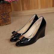 Salvatore Ferragamo Sissi Biscue Leather Wedge Pump Peep Toe Shoes black Hight 7cm,Women Shoes,Salvatore Ferragamo replicas wholesale
