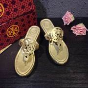 Tory Burch MILLER LOW HEEL SANDAL, METALLIC LEATHER GOLD ,Shoes, replicas wholesale