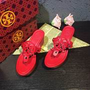 Tory Burch MILLER LOW HEEL SANDAL, METALLIC LEATHER Red ,Shoes, replicas wholesale