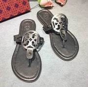 Tory Burch MILLER SANDAL, METALLIC LEATHER GUN,Shoes, replicas wholesale