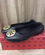 TORY BURCH MINNIE TRAVEL BALLET WITH LOGO BLACK WITH GOLD,Shoes, replicas wholesale