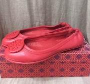 TORY BURCH MINNIE TRAVEL BALLET WITH LOGO RED,Shoes, replicas wholesale