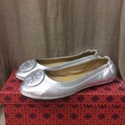 TORY BURCH MINNIE TRAVEL BALLET WITH LOGO SILVER,Shoes, replicas wholesale