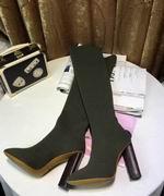 YeezySeason fur long boots Green High 10.5cm,Women Shoes,Yeezy Season replicas wholesale