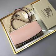 Burberry House Check and Leather Wallet with Chain pink,Wallet, replicas wholesale