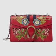 Dionysus embroidered leather shoulder bag red