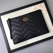 Gucci GG Marmont matelass?� leather pouch black