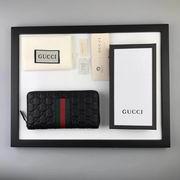 Gucci Signature Web zip around wallet black,Wallet,Gucci replicas wholesale