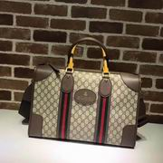 Gucci Soft GG Supreme duffle bag with Web brown ,Handbags,Gucci replicas wholesale