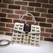 Gucci Sylvie  animal studs medium top handle bag white,Handbags,Gucci replicas wholesale