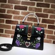 Gucci Sylvie Embroidered Leather Top Handle Bag black Leather ,Handbags,Gucci replicas wholesale