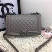 CHANEL LEBOY 25CM BALL MARKS COWHIDE HANDBAG SILVER METAL GREY,Handbags,Chanel replicas wholesale