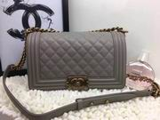 CHANEL LEBOY 25CM BALL MARKS COWHIDE HANDBAG GOLD METAL GREY ,Handbags,Chanel replicas wholesale