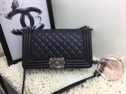 CHANEL LEBOY 25CM BALL MARKS COWHIDE HANDBAG SILVER METAL BLACK,Handbags,Chanel replicas wholesale
