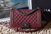 CHANEL LEBOY 25CM BALL MARKS COWHIDE HANDBAG SILVER METAL BURGUNDY,Handbags,Chanel replicas wholesale