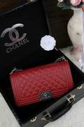 CHANEL LEBOY 25CM BALL MARKS COWHIDE HANDBAG SILVER METAL RED ,Handbags,Chanel replicas wholesale