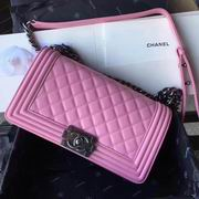 Chanel pink calfskin boy handbag silver metal,Handbags,Chanel replicas wholesale