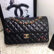 Chanel Classic cover handbag Black with beetle Lambskin A1112,Handbags,Chanel replicas wholesale