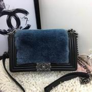 Chanel blue cony hair boy handbag calfskin black & silver metal ,Handbags,Chanel replicas wholesale