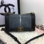 Chanel Leboy25cm black devil fish skin black gold metal,Handbags,Chanel replicas wholesale